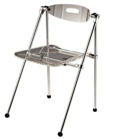 Exceptional Set Of Two Clear Acrylic Telescoping Chairs
