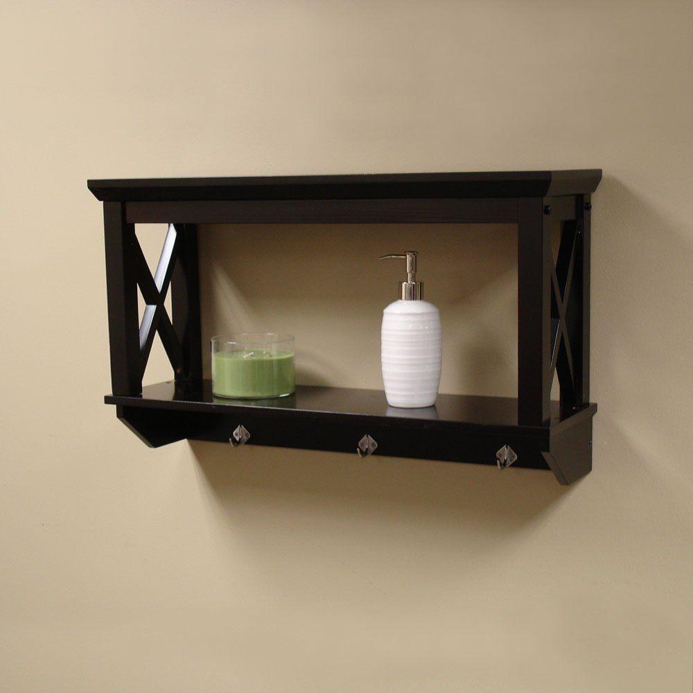 Sourcing Solutions X Frame Bathroom Wall Shelf, Espresso Finish