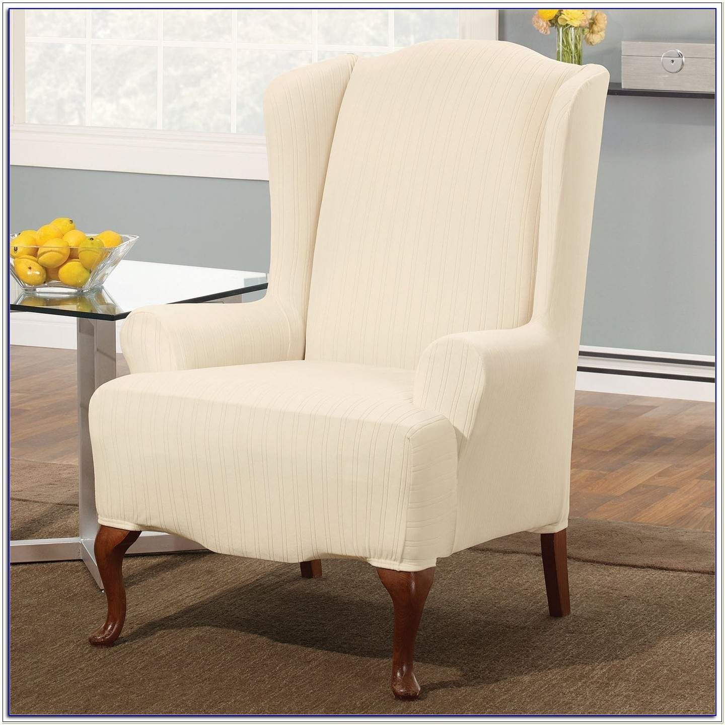 Sure Fit Stretch Pinstripe Wing Chair Slipcover, Cream