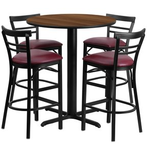 T & D Restaurant Equipment REST-010-BG-MAH 24 Round Mahogany Laminate Table Set with Ladder Back Metal Bar Stool and Burgundy Vinyl Seat Seats 4, Black, Burgundy, Mahogany