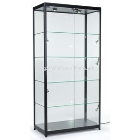 Tempered Glass Curio Cabinet With 8 Halogen Lights, 78 x 40 x 16.5-Inch, Free-Standing, Locking Hinged Doors, Floor Levelers And 4 Green Edge Glass Shelves - Black, Aluminum