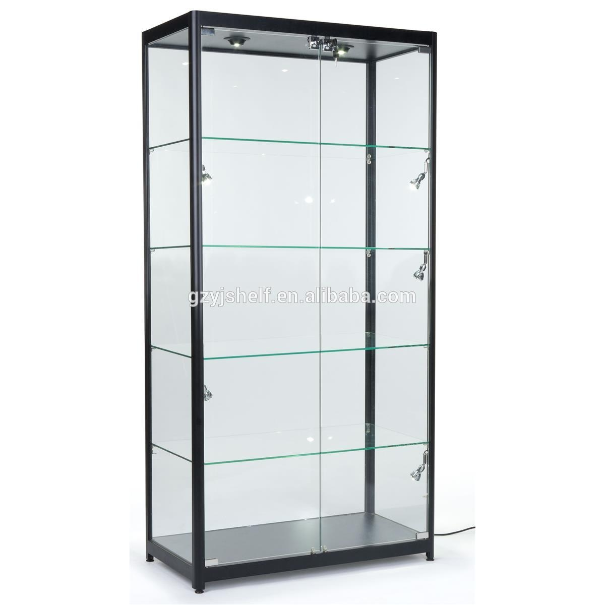 Attirant Tempered Glass Curio Cabinet With 8 Halogen Lights, 78 X 40 X 16.5 Inch