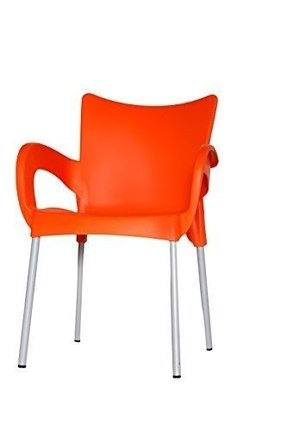 ARI Chairs (ORANGE) Set of (2) Plastic Indoor & Outdoor Cafe/restaurant/canteen
