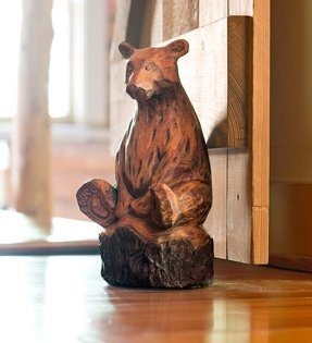 Durable Resin Woodland Animal Doorstops, in Bear