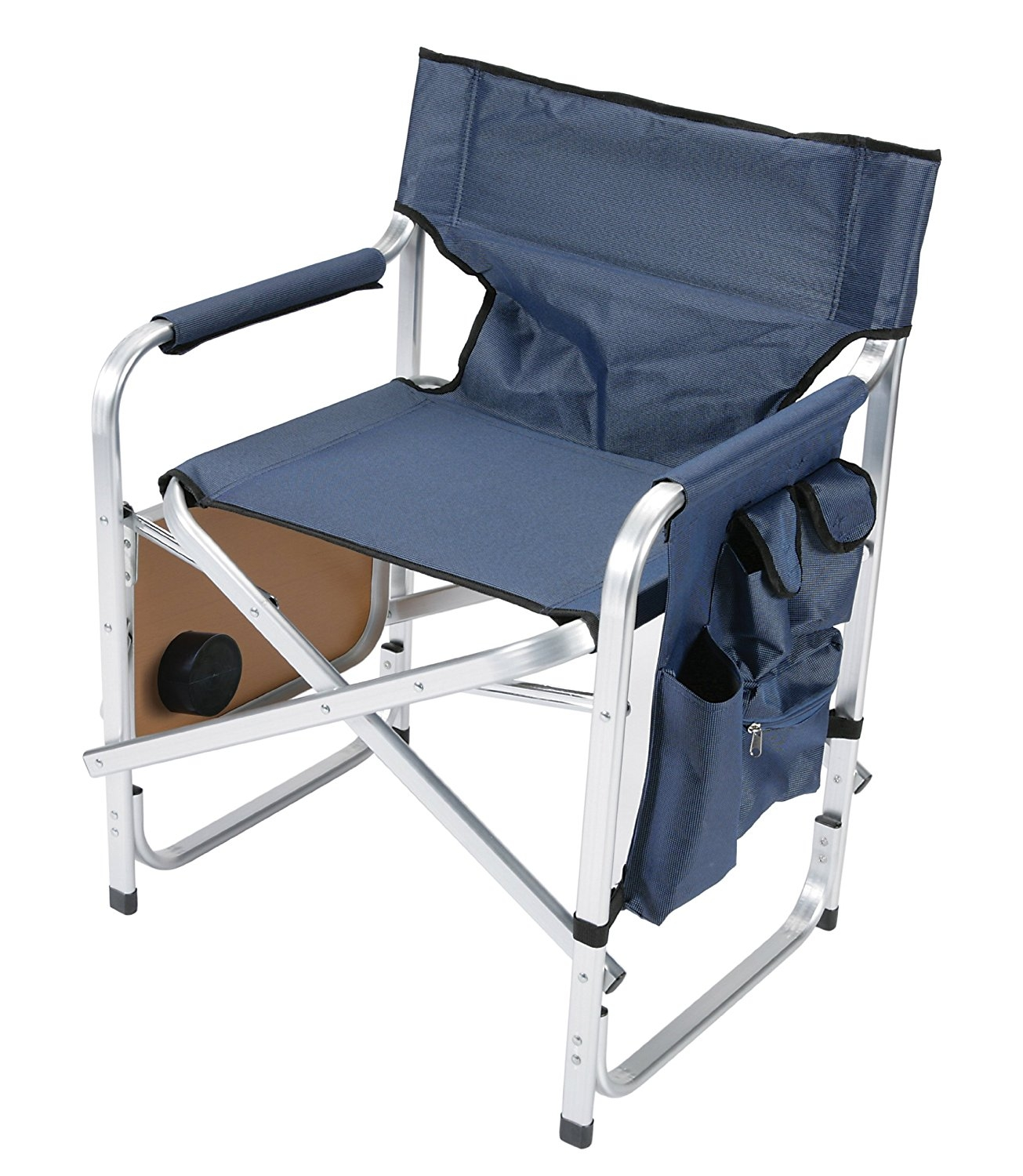 Faulkner Aluminum Director Chair With Folding Tray And Cup Holder, Blue