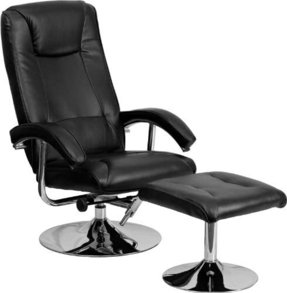 Flash Furniture Contemporary Leather Recliner And Ottoman With Chrome Base Black