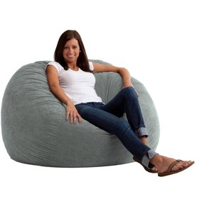 Large 4' Fuf Comfort Suede Bean Bag Chair Steel Grey - Soft Durable Comfortable Seating for Everyday Use