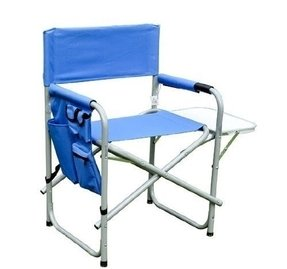 Outsunny Folding Portable Camping Directors Chair w/ Side Table - Blue
