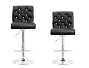 ST8226 - 2 Pcs Modern Swivel Bar Stools w/ Crystals and Tufted Look (2 Colors) (Black)