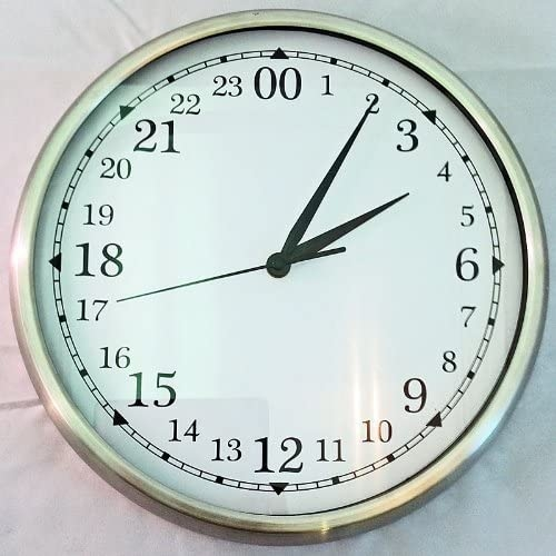 12in 24 Hour Wall Clock In Silver