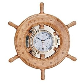 "13"" Porthole Wheel Clock with Lacquer Coating Time Piece Nautical Tropical Home"