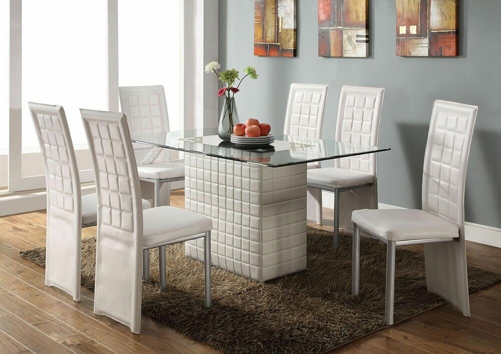 Exceptional 7 Pc Abbie Collection White Leather Like Vinyl Pedestal Base And Glass Top  Dining Table Set