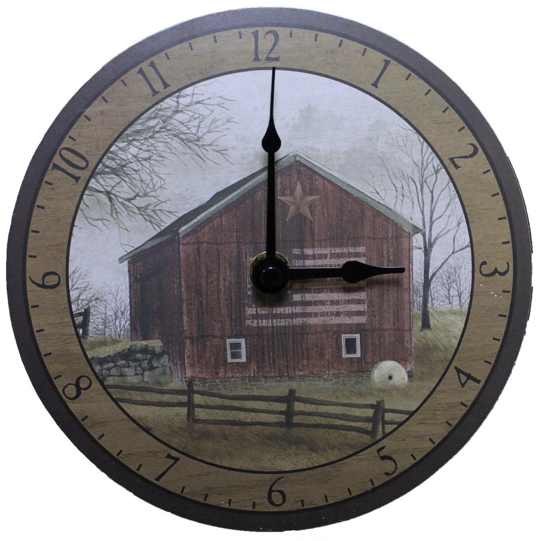 Billy Jacobs 6 Inch Designer Wooden Wall Clock   Flag Barn