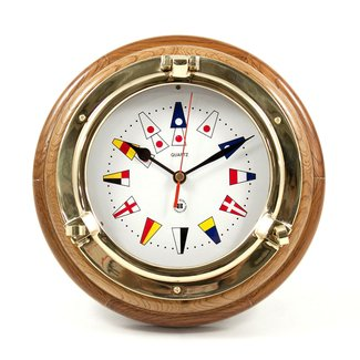 Brass Porthole Quartz Clock with Nautical Flags Dial Face on Oak Wood