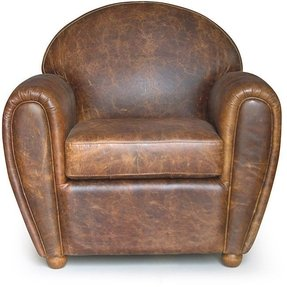 Classic cigar style vintage leather club chair 1