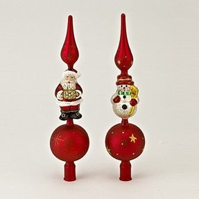 club pack of 6 12h early years glass nostalgic santa and snowman christmas tree