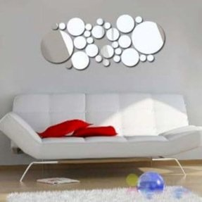 Coavas 28 Pcs Sliver Color Acrylic Bubbles DIY Mirror Wall Stickers for Bedroom Decoration