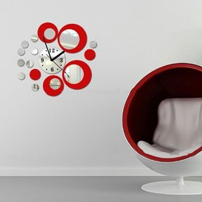 Coavas® Personalized DIY 3D Fashion Circles Polka Dot Decorative Wall Clock Modern Mirror Wall Clock Wall Deor House Wall Decal Silver&Red