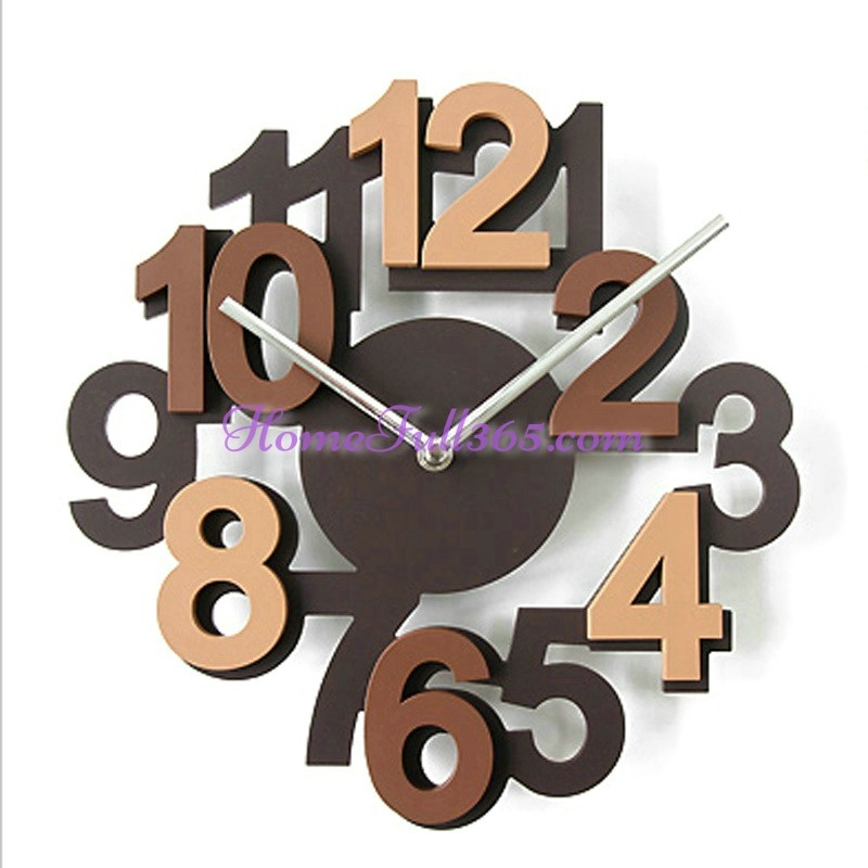 European Minimalist 3d Digital Quartz And Wooden Art Decorative Muted  Fashional Creative Wall Clock In Living