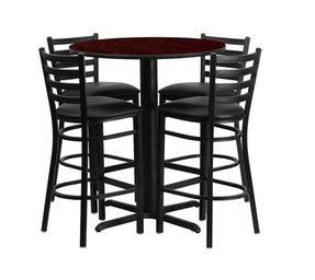 Flash Furniture 30'' Round Black Laminate Table Set with 4 Ladder Back Metal Bar Stools - Burgundy Vinyl Seat