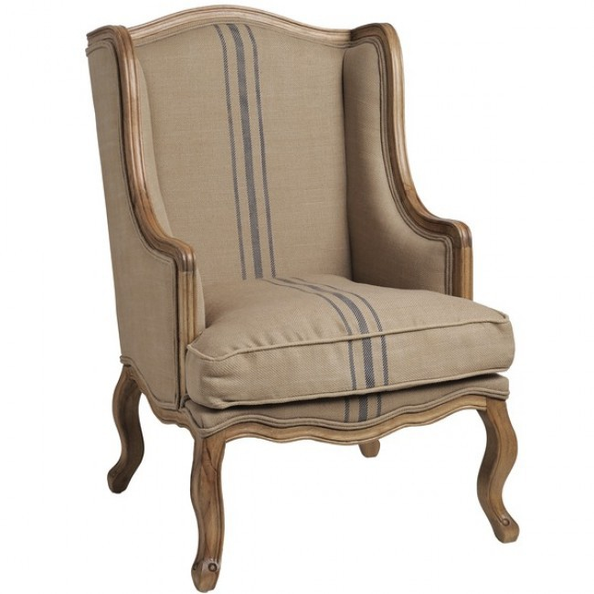 French Country Chic Style Cream Taupe Fabric Wing Back Armchair