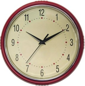 Geneva 9-1/2-Inch Plastic Diner Wall Clock, Red