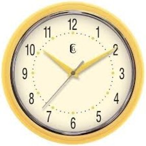 "Geneva Clock Company 9-1/2"" Yellow Plastic Wall Clock"