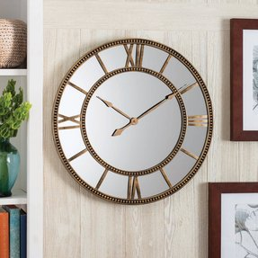 Home/Garden Mirror Clock, Distressed Gold, Roman numeral, easy-to-hang, quality