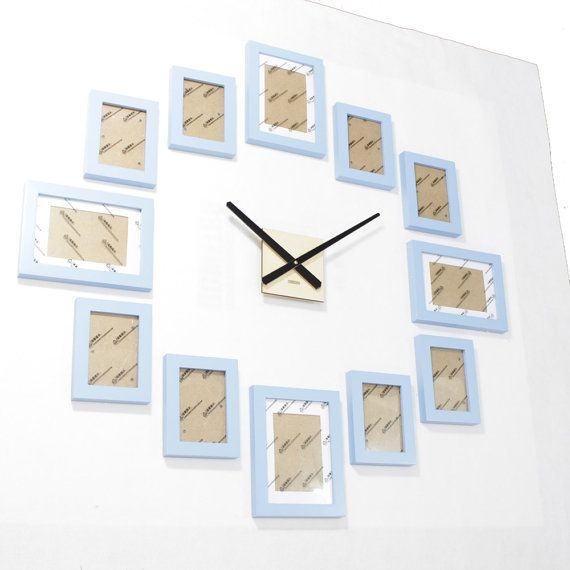 Homeloo Modern 12 Wood Wooden Photo Picture Frame Wall Clock DIY Kit (Blue)