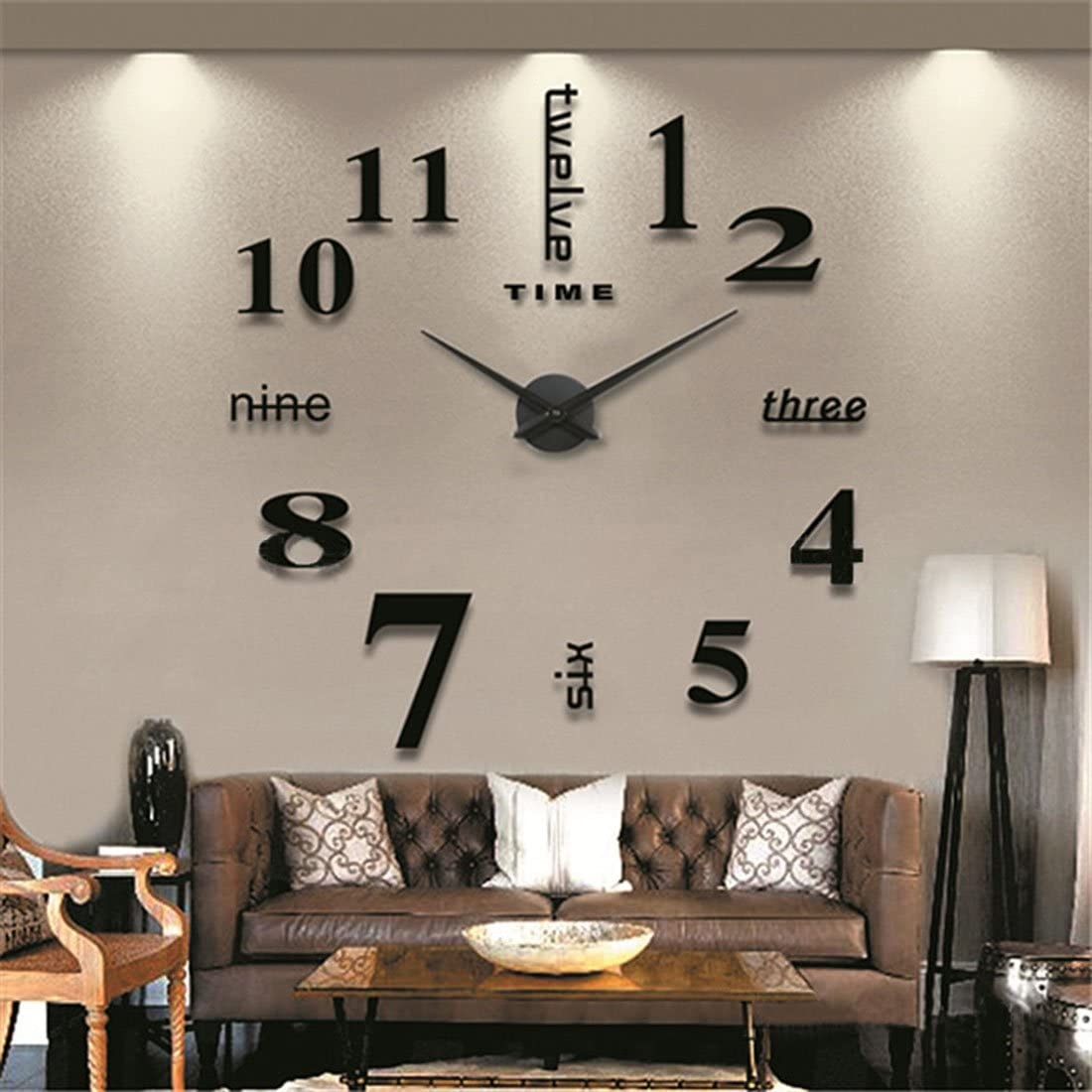 ICasso Luxury Large Size 3D Mirror Surface Creative Modern Home Decoration  Art Clock DIY Wall Clock