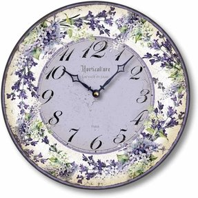 Item C8209 Vintage Style Lilacs and Lavender Clock (10.5 Inch Diameter)
