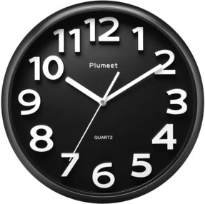 JustNile 3D Modern Contemporary Quiet Wall Clock - 12-inch Round Black