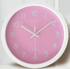 JustNile Kids Basic Color Round 12 Inch Non Ticking Silent Wall Clock    Baby Pink