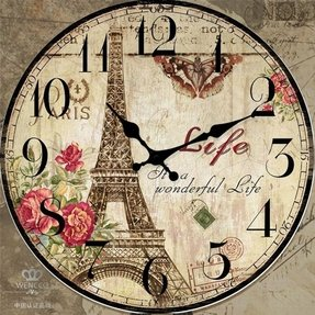 large 23 inch Wooden Wall Clock Round Shabby Chic French Decor Effel Tower