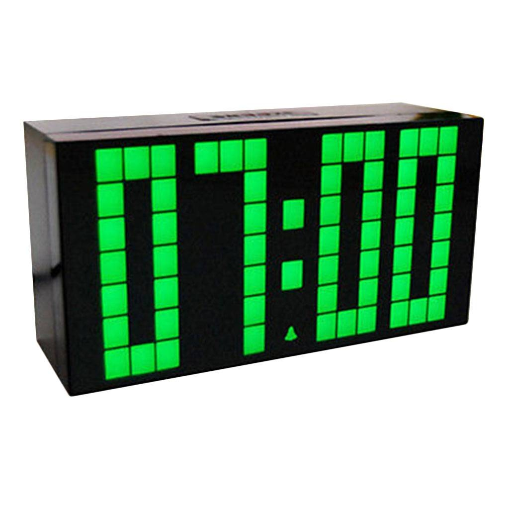 Large Big 4 6 Digit Jumbo LED Digital Alarm Calendar Snooze Wall Desk Clock  (green