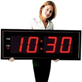 "Large Digital LED Clock - Giant 8"" Numeral Blue LED Wall Clock With Remote Control"