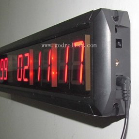 "LED Days Countdown Clock Red Color 1.8"" 10 Digits Count up to 10000 Days with Hours Minutes Seconds LED Large Digital Countdown Clock IR Remote Control Aluminum Case"