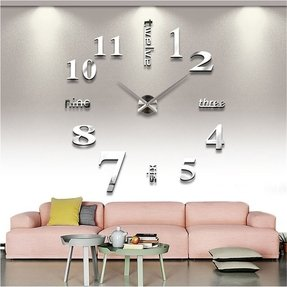 LOOYUAN DIY Large Wall Clock 3d Mirror Sticker Metal Big Watches Home Decor Unique Gift 12s0015-s