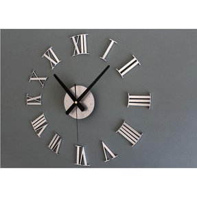 Metallic Roman Numerals 3d Sticker DIY Clock Quartz Bedroom Decorative Clock 5 Colors (Silver)