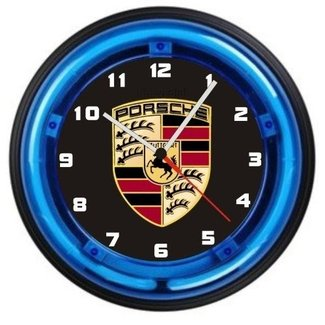 PORSCHE LOGO 12 INCH NEON WALL CLOCK-FREE USA SHIP!
