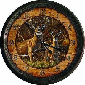 Rivers Edge Products Distressed Vintage Tin Wall Clock, 15-Inch