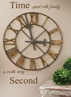 Roman Numeral Clock Wall Art Brown W/gold Accents