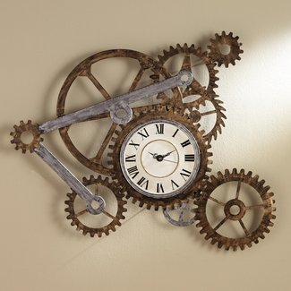 Roman Numeral Wall Clock Made with Gears and Sprockets. This Hand Painted Art Is Functional and Decorative. Novelty Wall Clocks Make Great Housewarming Gifts.