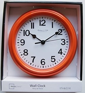 "Sterling & Noble 8.75"" Analog Wall Clock- Orange"