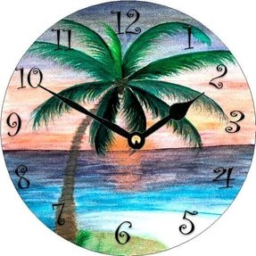 Sunset Palm Tree Wall Clock