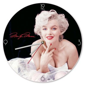 "Vandor 70689 Marilyn Monroe 13.5"" Cordless Wood Wall Clock, White, Black, and Red"