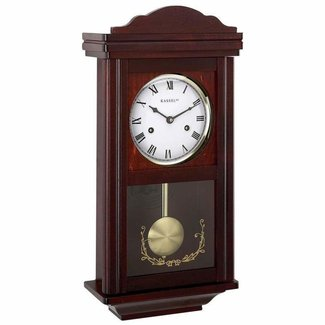 Wall Clocks: Grandfather Wood Wall Clock with Chime, No Battery Required, Winding Key Included. Pendulum Wood Traditional Clock. Makes An Excellent Christmas Gift!