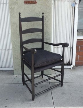 18thc original black painted new england ladder back arm chair