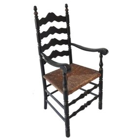 19th c original black painted ladder back armchair from new