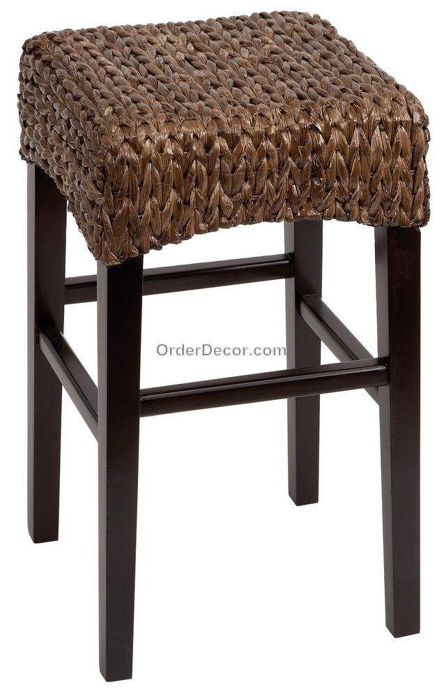 24 Brown Wood Wicker Counter Bar Stool Rush Seat